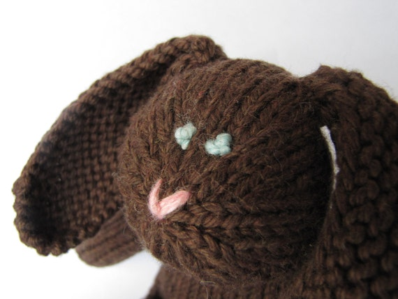 Cocoa Cottontail Hand Knit Rabbit  Organic Cotton