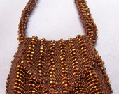 Especially for Audrey -  BJD Tortoise Shell - Hand Knitted Seed Bead Mini Purse Shoulder Bag