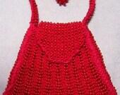 Scarlett Red - BJD Hand Knitted Seed Bead Mini Purse Shoulder Bag SD-1/3 MSd-1/4 YoSD-1/6