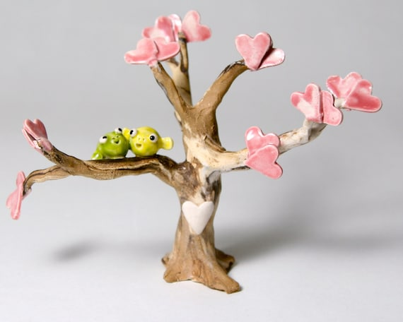 Whimsical wedding cake topper fish in a tree ceramic by for Fish in a tree