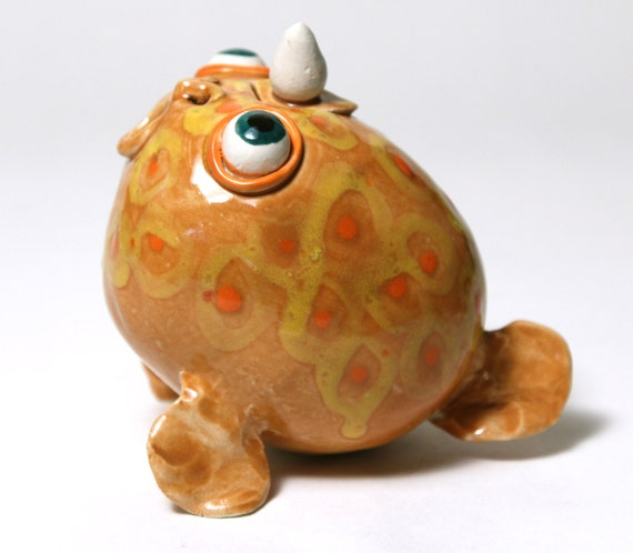 Items similar to puffer fish porcelain teapot mustard for Puffer fish price