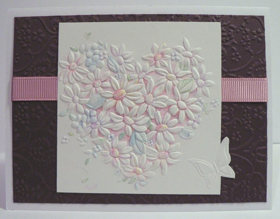 Floral Heart Anniversary Greeting Card