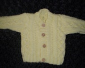 HAND KNITTED BABY CABLED ARAN CARDIGAN