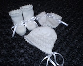 HAND KNITTED baby bonnet, bootees and mittens set