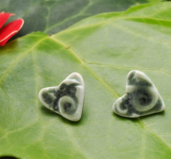 Heart earrings in Jade Green