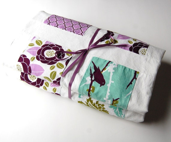 Aviary 2 Crib Toddler Lap Blanket Quilt -Made to order