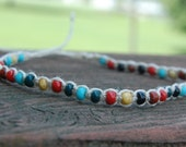 The Natural  - Thin Hemp Bracelet with Multicolor Beads - FREE SHIPPING