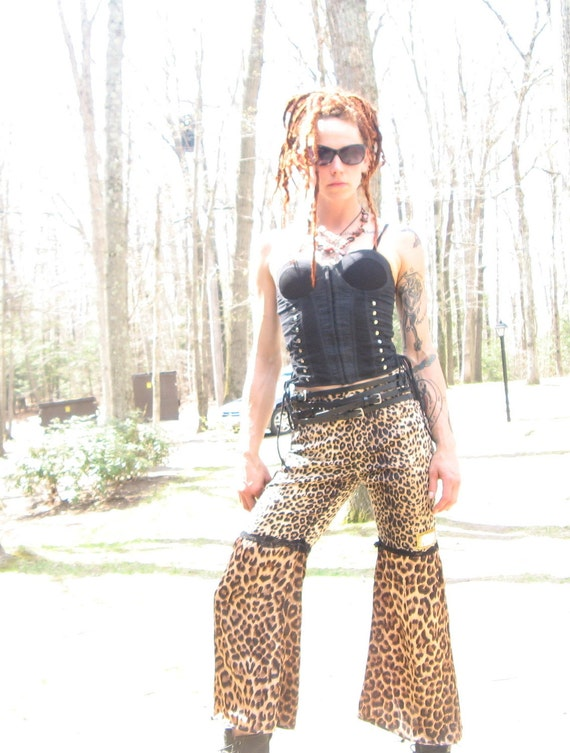 SALE SALE was 50 now 40 Leopard Ninja upcycled pants silk lace dance punk