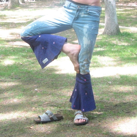 SALE was 30 now 15 Purple Bell Ninjaflare faded upcycled jeans unique fun