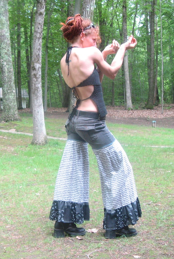 SALE SALE was 50 now 30 Music Ninja patchwork flare wide leg bloomers funky ooak