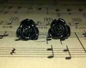 Sale Black Rose Cabochon Post Earrings, Ready to Ship, Buy 2 Get 1 Free