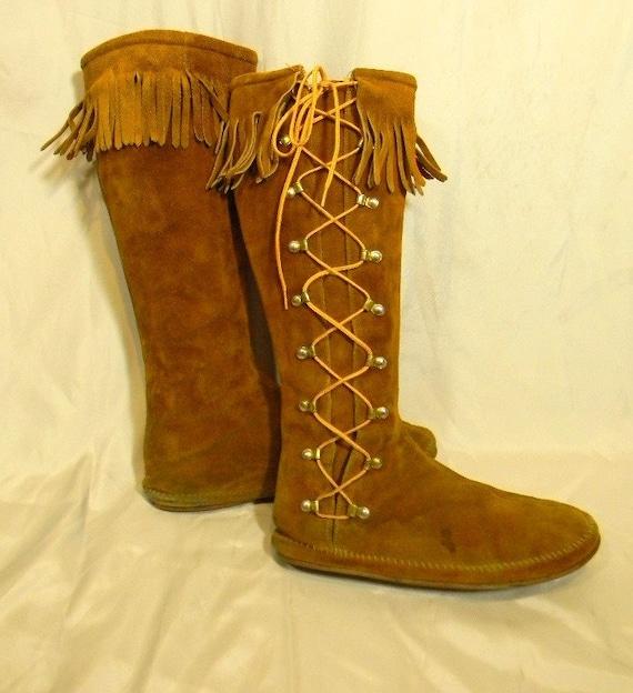 Vintage Minnetonka Moccasins Knee Hi Boots Side Lace Fringe