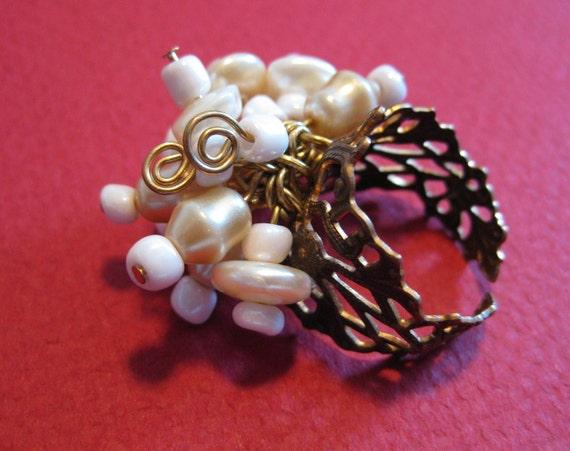SALE-Vintage Pearl Ring (adjustable) WAS:24.99