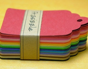 """100 Paper Tags: Assorted Rainbow Gift Tags 2.25"""" x 3.5"""""""