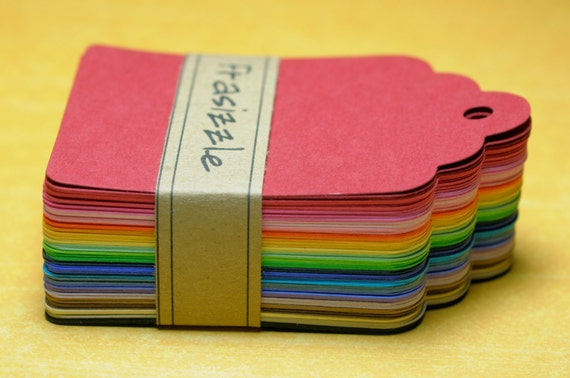 "100 Paper Tags: Assorted Rainbow Gift Tags 2.25"" x 3.5"""