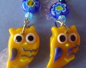 Owl earrings, on reserve for Tom,  bird jewelry, yellow and blue, gift