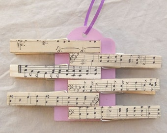 Vintage Sheet Music Covered Clothes Pins-Bag Clips-Chip Clips-Sheet Music Holder-Bookmark-Party Favor-Music Lover Gift-Music Teacher Gift
