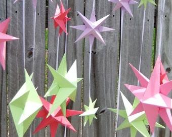 Pink Purple & Green Star Mobile~Paper Star Mobile~Baby Shower Gift~Baby Mobile~Nursery Decor~Origami Star Mobile~Little Girl Room Decor