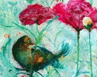 Original Painting Ranucula Bird In Blue