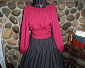 Civil War Colonial Prairie Pioneer Day Dress Black Skirt Burgundy Blouse and Sash