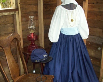 Civil War Colonial Prairie Pioneer Dress skirt sash blouse-Womens 3 Piece
