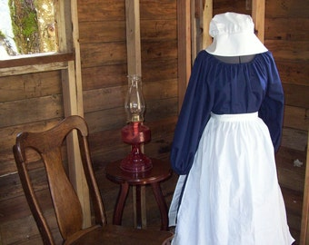 Pioneer Prairie Colonial Dress Costume Civil War Navy Dress With Bonnet and Apron
