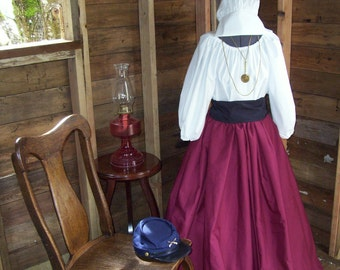 Civil War Colonial Prairie Pioneer Dress includes skirt, blouse and sash 3 Piece