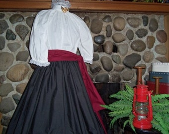Victorian Costume, Dickens Costume, Pioneer Prairie Blouse skirt Civil War Ladies Costume