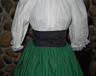 Civil War Colonial Pioneer Day Dress  Skirt Victorian Style Blouse Set