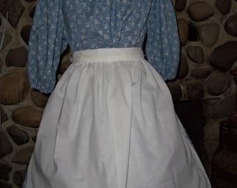 Ladies Colonial Dress Costume Civil War Pioneer Prairie Dress, Apron and Bonnet