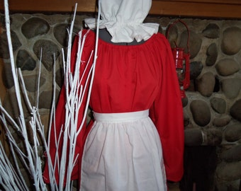 Mrs Claus Christmas Colonial Dress Costume Civil War Pioneer Prairie -Dress Apron and Mop Hat