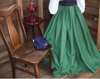 Girls Civil War, Victorian, Reenactment Skirt With Sash, One Size Fits Most Colors Available