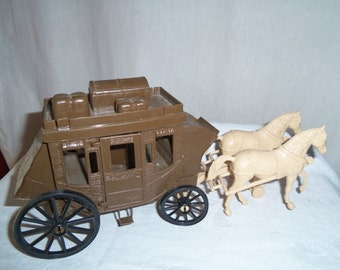 Vintage Brown Plastic Stage Coach Wagon with Horses