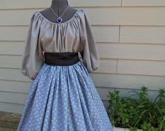 Women's Gray Civil War Pioneer Colonial Print Skirt 3 Piece Costume