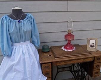 Blue Ladies Colonial Dress Costume Civil War Pioneer Prairie -New