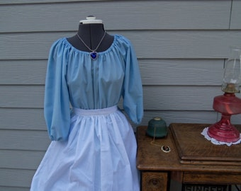 Girls Colonial Dress Costume Civil War Pioneer Prairie Lt Blue