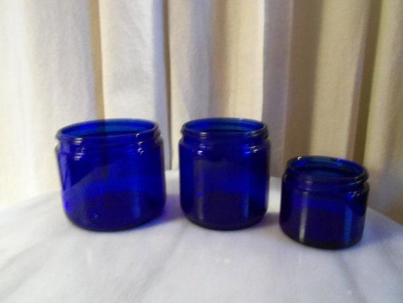 Vintage Jar Bottles Cobalt Blue Glass set of 3