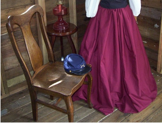 Girls Civil War, Victorian, Reenactment Skirt With Sash, One Size Fits Most Color Choices