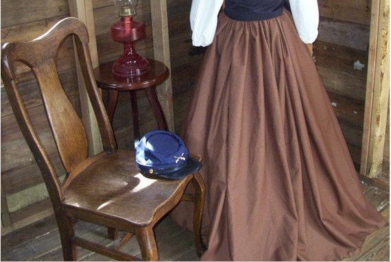 Womens Civil War, Victorian, Reenactment Skirt With Sash, Color Choices One Size Fits Most