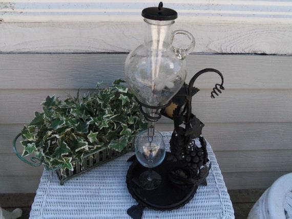 Vintage Wine Server Decanter in Decorative Wrought Iron Holder