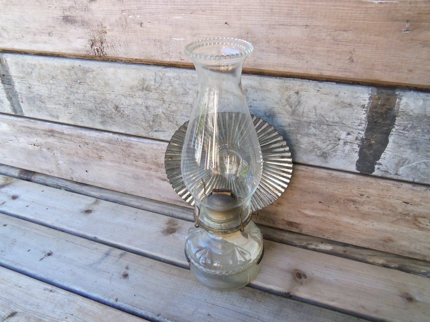 Vintage Oil Lamp With Wall Mount And Reflector