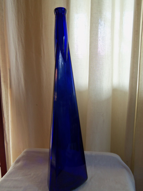 Vintage Cobalt Blue Glass Sleek Tall Vase