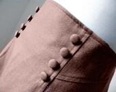 vintage High Waisted Brown Wool Western Bohemian Maxi Skirt