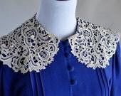 vintage cobalt blue drop waist dress with lace doily peter pan collar size small