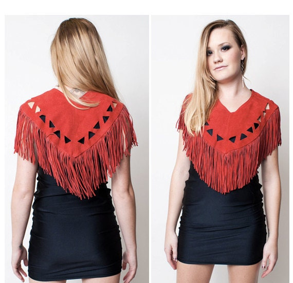 Red Leather Fringe Top