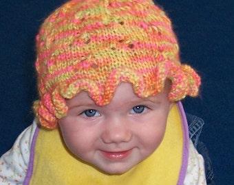 KNIT PATTERN - Ruffled Eyelet Baby Hat