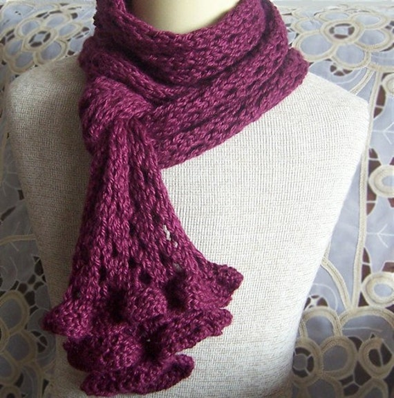 KNIT PATTERN Romantic Ruffles and Lace Scarf