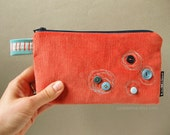 Zippered clutch salmon orange corduroy with aqua blue buttons and embroidery - MAIA