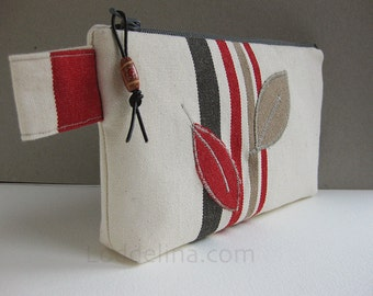 Zippered pouch cream white canvas with rusty red and taupe stripes and leaves - MAIA