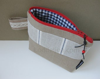 Cosmetic purse natural beige canvas with red and cream embroidery, lace trim and navy gingham lining